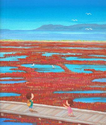 北海道の美しい海辺の風景画イラスト 水彩タッチ 秋 赤く染まるサンゴ草 網走市能取湖