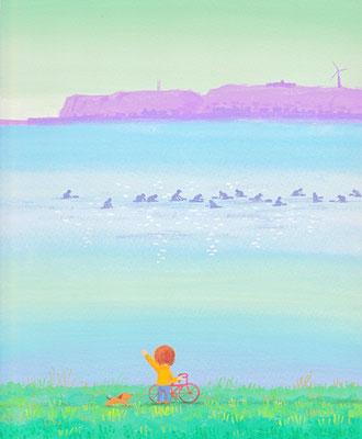 北海道の美しい海辺の風景画イラスト 水彩タッチ 春 春のアサリ漁 浜中町
