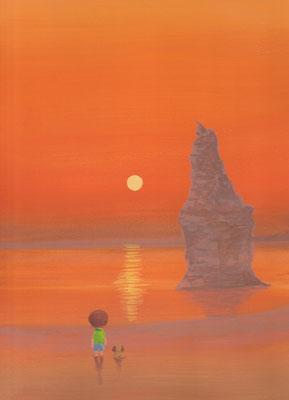 風景画イラスト 水彩タッチアクリル 美しい風景  赤く燃える夕焼けの海岸 北海道乙部町