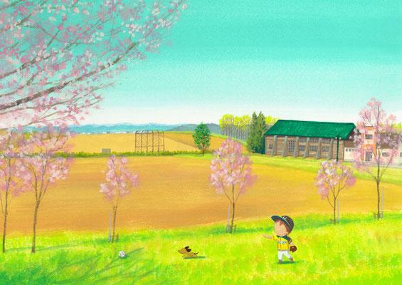 美しい北海道の風景画イラスト 水彩タッチアクリル 春 桜の咲く頃