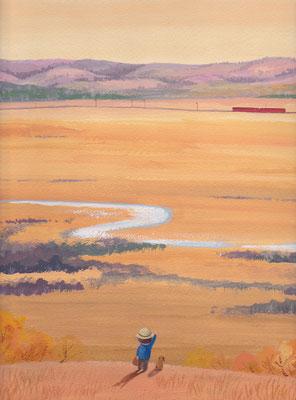 美しい北海道の風景画イラスト 水彩タッチアクリル 秋 湿原を見渡して 釧路市