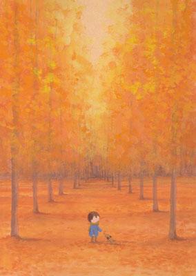 風景画イラスト 水彩タッチアクリル 美しい風景  秋の紅葉の並木の中で 北海道旭川市
