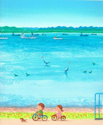 北海道の美しい海辺の風景画イラスト 水彩タッチ 夏 サロマ湖の水鳥たち 湧別町