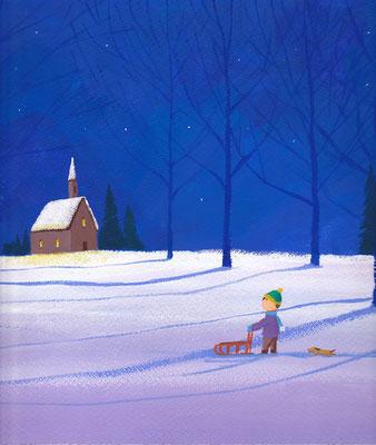 美しい北海道の風景画イラスト 水彩タッチアクリル 冬 冬の帰り道