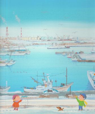 北海道の美しい海辺の風景画イラスト 水彩タッチ 冬 工場の港から 苫小牧市
