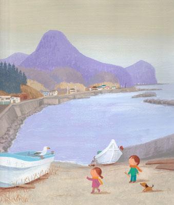 北海道の美しい海辺の風景画イラスト 水彩タッチ 冬 冬支度の頃 福島町