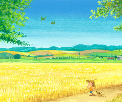 美しい北海道の風景画イラスト 水彩タッチアクリル 夏 小麦のささやき