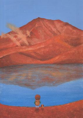 風景画イラスト 水彩タッチアクリル 美しい風景  静寂な姿見の池 北海道東川町