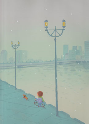 風景画イラスト 水彩タッチアクリル 美しい風景  粉雪が舞う霧の街 北海道釧路市