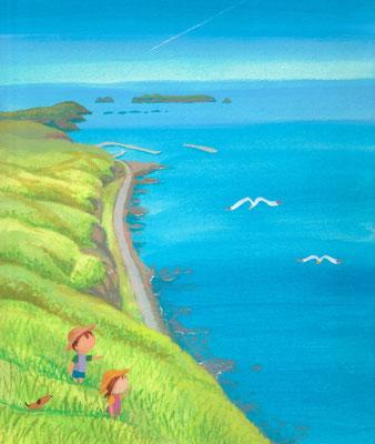 北海道の美しい海辺の風景画イラスト 水彩タッチ 夏 フットパスで巡って 礼文町