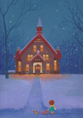 風景画イラスト 水彩タッチアクリル 美しい風景  クリスマスの夜の森の礼拝堂 北海道遠軽町
