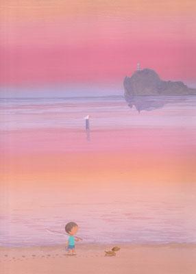 風景画イラスト 水彩タッチアクリル 美しい風景  夕暮れ時の海辺で 北海道島牧町