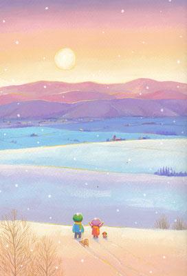 美しい北海道の風景画イラスト 水彩タッチアクリル 冬 朝陽が昇って 名寄市