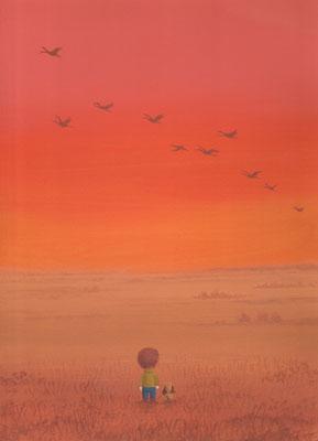 風景画イラスト 水彩タッチアクリル 美しい風景  秋の釧路湿原に舞う 北海道釧路市