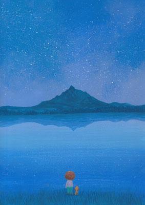 風景画イラスト 水彩タッチアクリル 美しい風景  星空の利尻岳 北海道利尻富士町