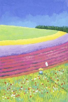 美しい北海道の風景画イラスト 水彩タッチアクリル 夏 夏の花畑 富良野市