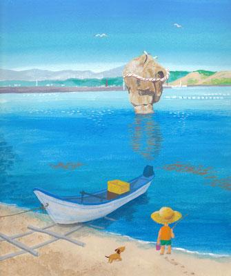 北海道の美しい海辺の風景画イラスト 水彩タッチ 夏 かもめ島の瓶子岩 江差町