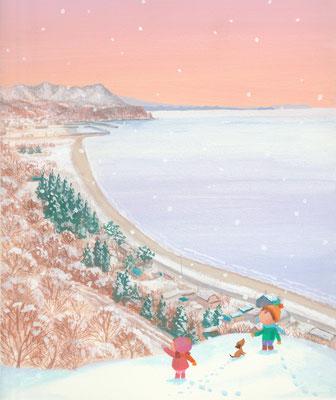 北海道の美しい海辺の風景画イラスト 水彩タッチ 冬 町を見下ろして 豊浦町