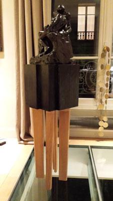 Socle pour statue de bronze (bois brûlé et chêne naturel)