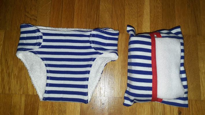 Puppenwindel gross und Feuchttücher, blau-weiss gestreift