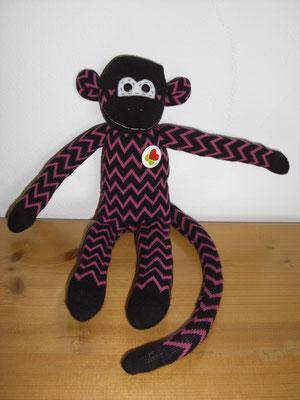 Sockenaffe, schwarz-pink Zickzack