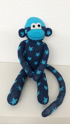 Sockenaffe, dunkelblau mit türkisen Sternen