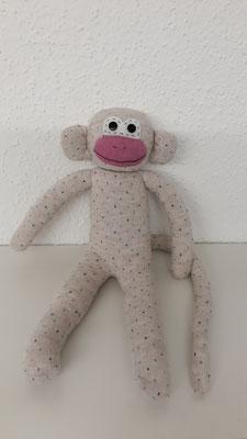 Sockenaffe, beige mit rosa Pünktli