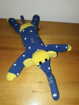 Sockenelefant, blau mit gelb