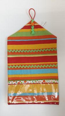 Haarspangenutensilo, orange-gelb-grün gestreift
