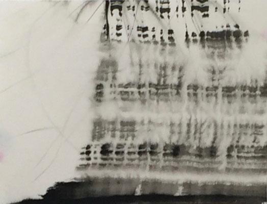 Reaktion I | 40 x 25 cm | Tusche auf Papier auf Aludibond