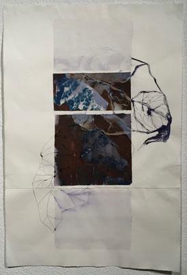 Blatt | 59 x 79 cm | Tusche, Rost und Cyanotype auf Papier