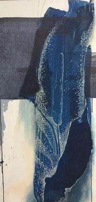 Lily | 60 x 90cm | Cyanotype auf Papier auf Holz