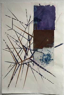 Piniennadeln | 59 x 79 cm | Tusche, Rost und Cyanotype auf Papier