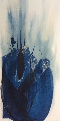 Knospe I | 60 x 90cm | Cyanotype auf Papier auf Holz
