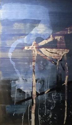 Kran  | 70 x 110cm | Tusche auf Papier auf Holz