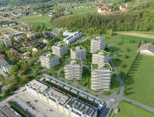 Drohnenfoto Richtung Schloss St. Martin
