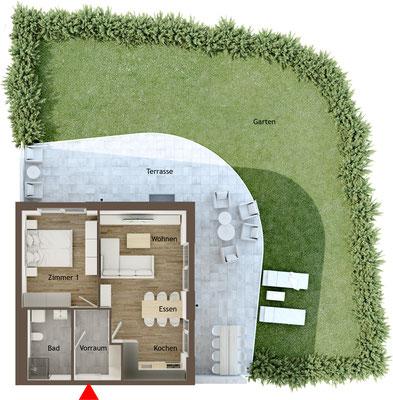 Grundrissgrafik 2 Zimmer Garteneckwohnung