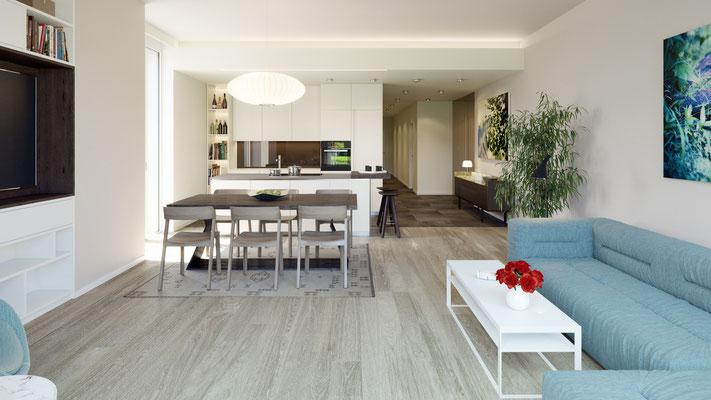 Rendering Penthouse Wohnen