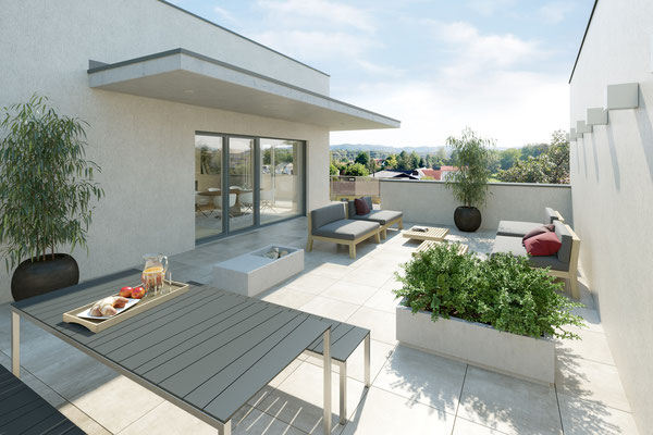 Visualisierung Penthouse Terrasse