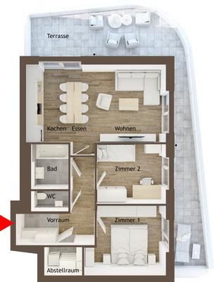 Grundrissgrafik 3 Zimmer Terrassenwohnung