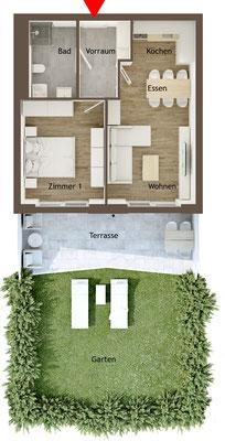 Grundrissgrafik 2 Zimmer Gartenwohnung