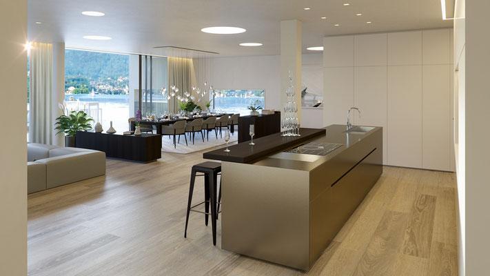 Küche, Lounge, Essbereich