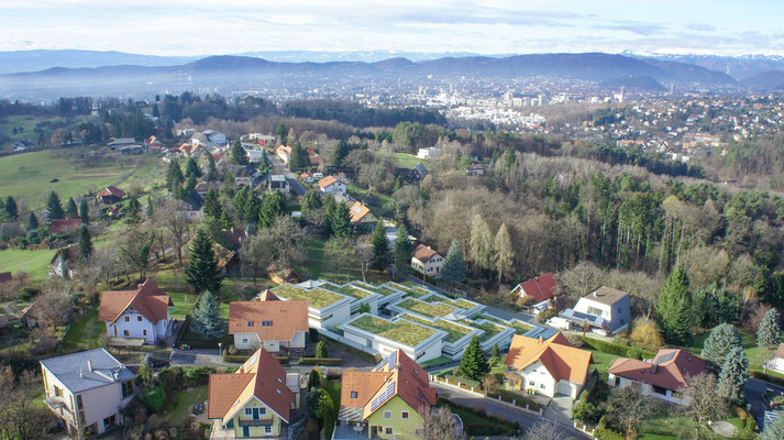 Drohnenaufnahme Blick nach Graz