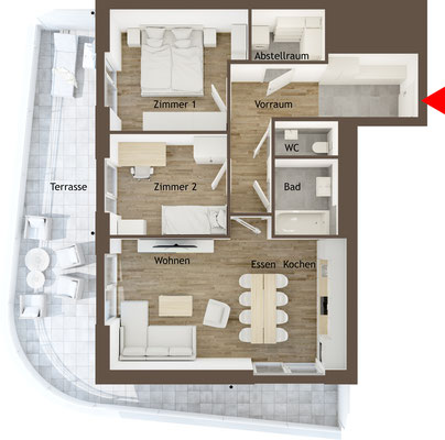 Grundrissgrafik 3 Zimmerwohnung