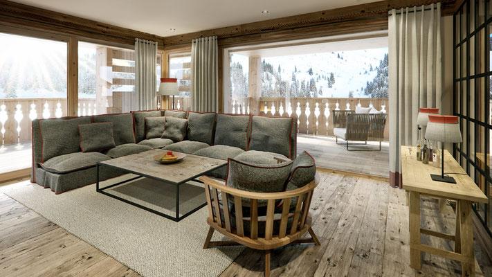Rendering Lounge mit Ausblick