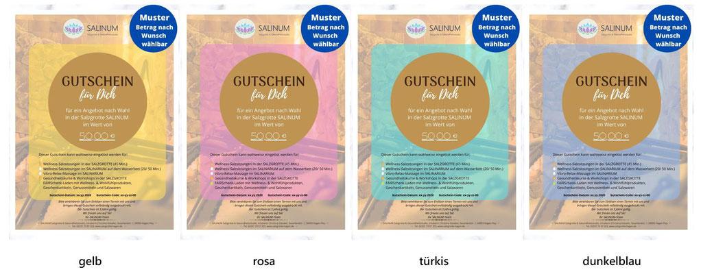 Email-Gutscheine für die SALINUM Salzgrotte mit neutralem Motiv in verschiedenen Farben