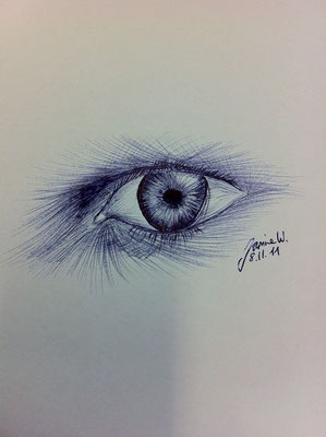 Augenblick mit Kugelschreiber