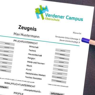 Verdener Campus, Oberschule Verden, Logoentwicklung, Einsatz Zeugnis