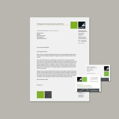 emkon. Systemtechnik, Projektmanagement GmbH, Geschäftsausstattung