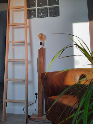 A custom ladder H290 in natural style in a french house